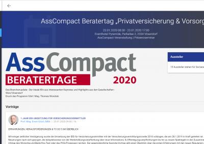 Veranstaltungsübersicht im AssCompact-Kundenportal